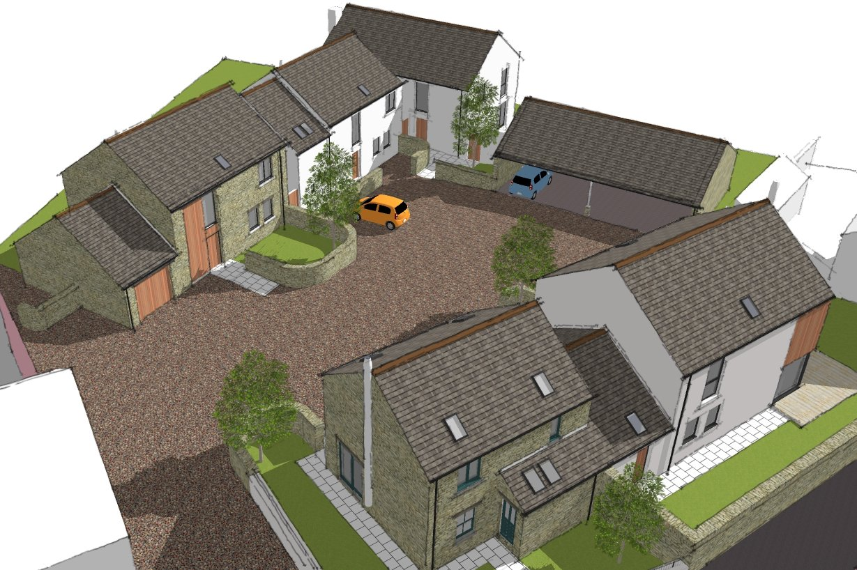 New development of 5 houses, Pardshaw - aerial view of courtyard