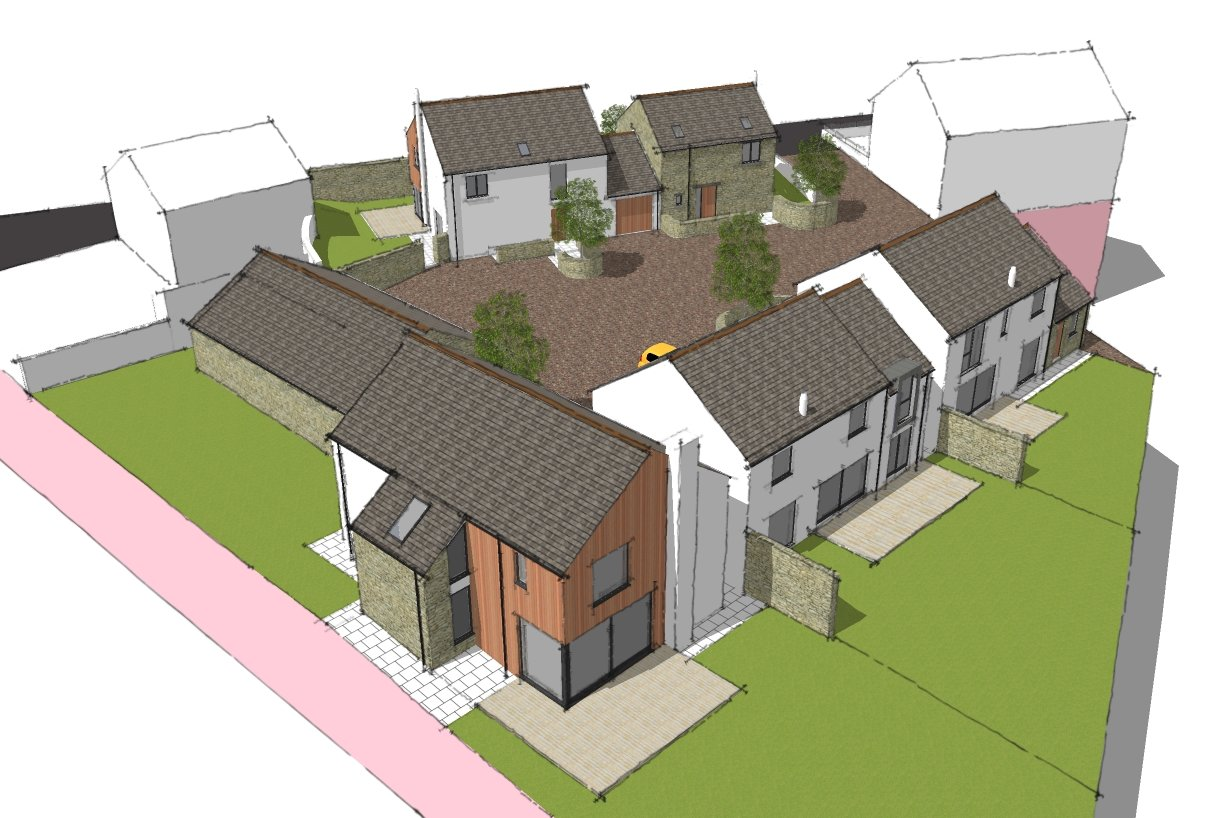 New development of 5 houses, Pardshaw - aerial view
