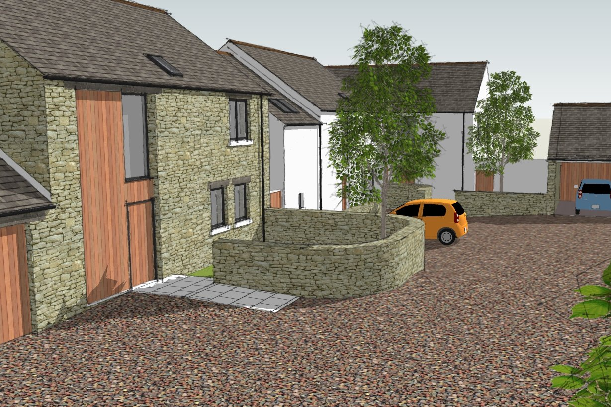 New development of 5 houses, Pardshaw - courtyard